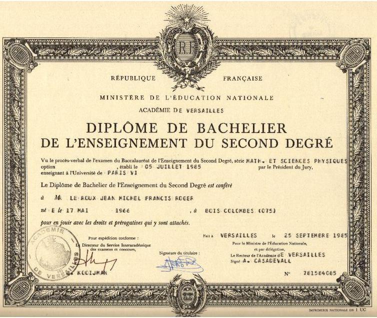 FRANÇAISE  MINISTÈRE DE L'ÉDUCATION NATIONALE  ACADÉMIE DE VERSAILLES  DIPLÔME DE BACHELIER DE L'ENS